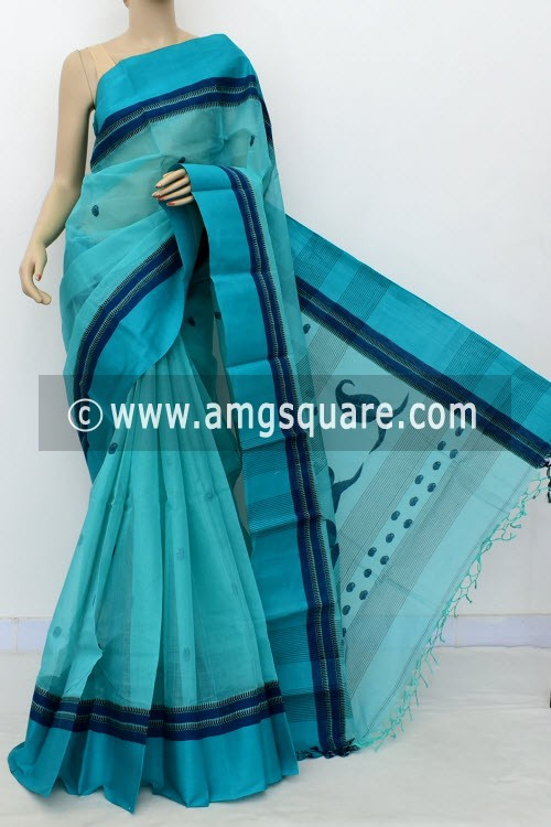 Sea Green Exclusive Handwoven Bengal Tant Cotton Saree (With Blouse) 17601