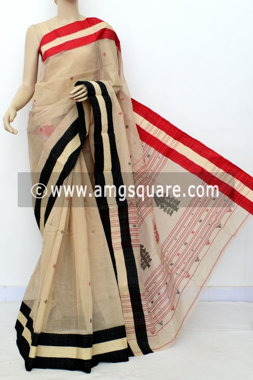 Fawn Exclusive Handwoven Bengal Tant Cotton Saree (Without Blouse) Ganga Yamuna Border 17616