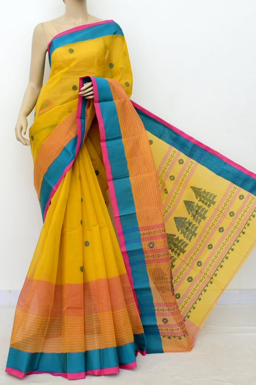 Mustard Yellow Exclusive Handwoven Bengal Tant Cotton Saree (With Blouse) 17617