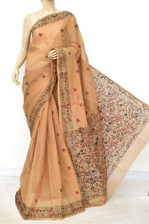Light Chocolatee Hand Embroidered Kantha Work Bengal Tant Cotton Saree (Without Blouse) 17629