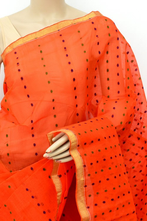 Orange Handloom Thousand Booti Bengal Tant Cotton Saree (Without Blouse) 17667