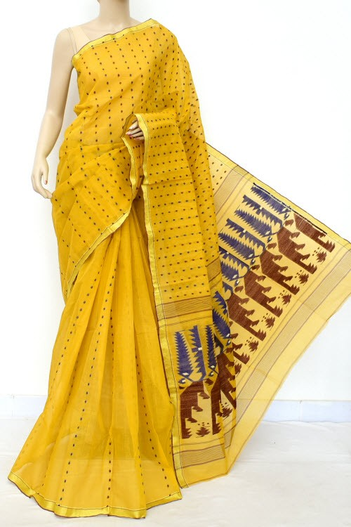 Mustard Yellow Handloom Thousand Booti Bengal Tant Cotton Saree (Without Blouse) 17676