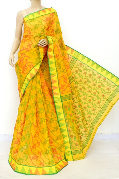 Golden Yellow Jamdani Handloom Bengal Tant Cotton Saree (Without Blouse) 17685