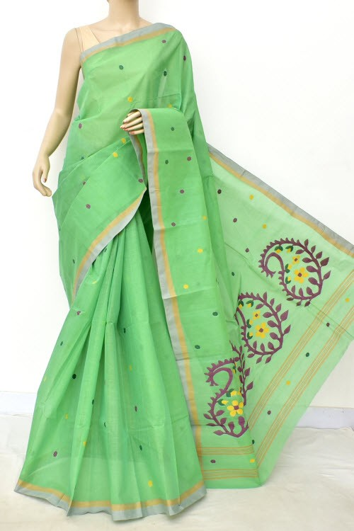 Light Green Pure Jamdani Handloom Bengal Tant Cotton Saree (Without Blouse) 17700