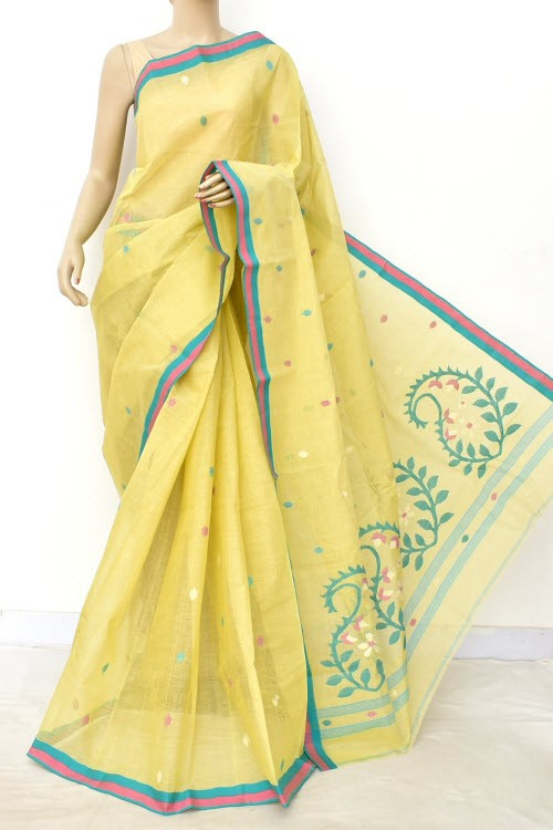 Cream Pure Jamdani Handloom Bengal Tant Cotton Saree (Without Blouse) 17701