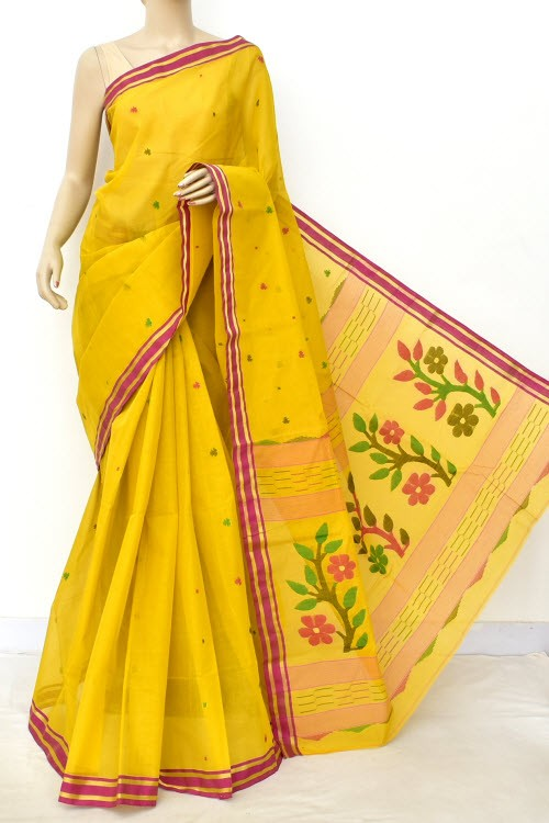 Mustard Yellow Pure Jamdani Handloom Bengal Tant Cotton Saree (Without Blouse) 17702