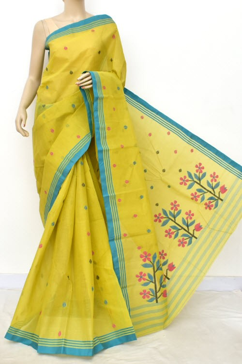 Light Menhdi Green Pure Jamdani Handloom Bengal Tant Cotton Saree (Without Blouse) 17703