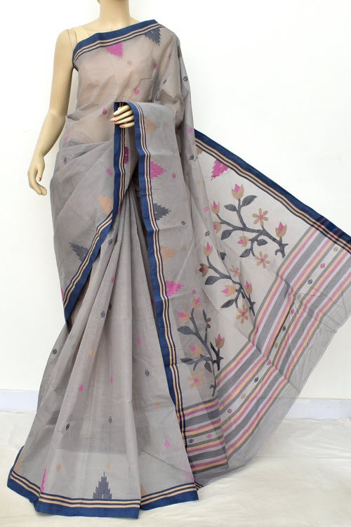 Grey Pure Jamdani Handloom Bengal Tant Cotton Saree (Without Blouse) Allover Booti 17704
