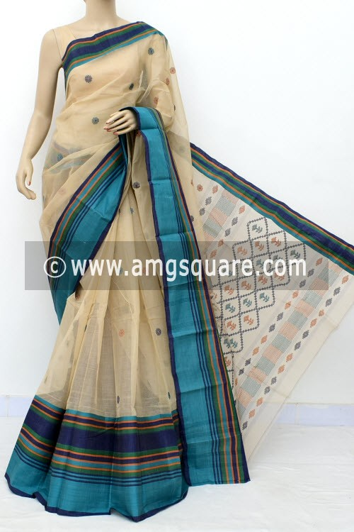 Fawn Designer Handwoven Bengal Tant Cotton Saree (Without Blouse) 17764