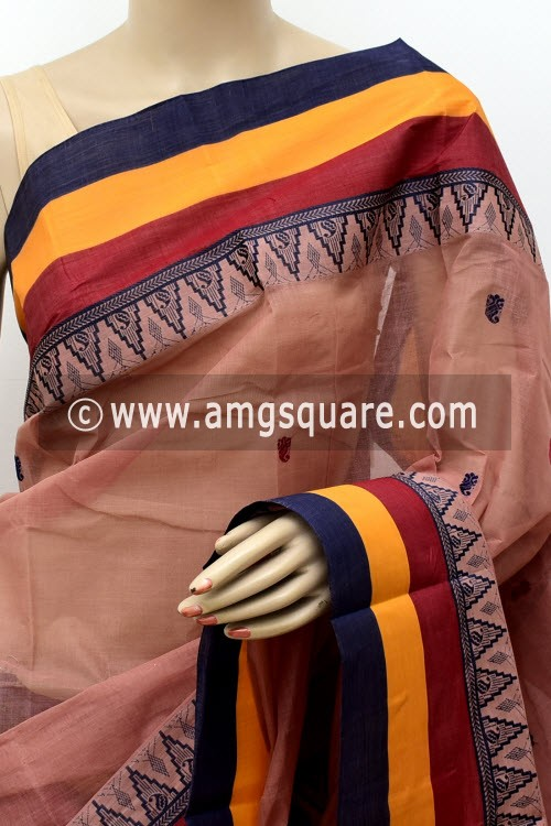 Light Chocolatee Exclusive Handwoven Bengal Tant Cotton Saree (Without Blouse) 17767
