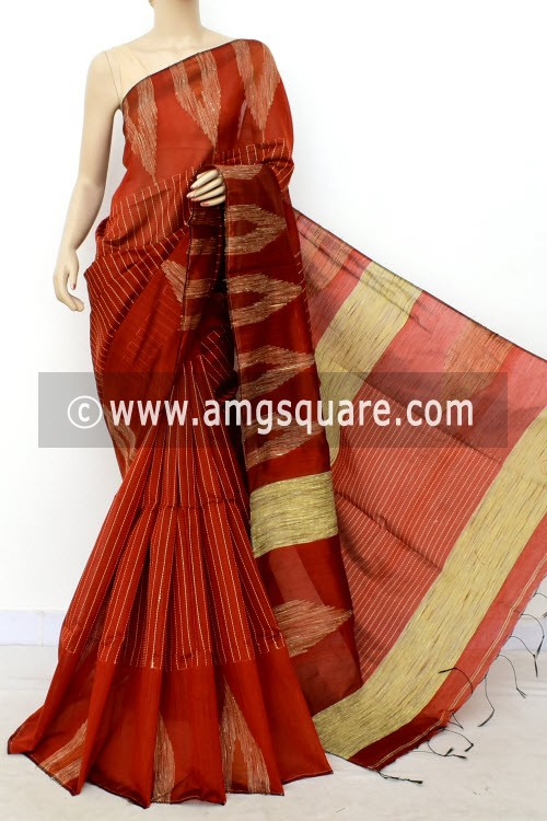 Rust Handloom Masturised Cotton Saree (With Blouse) 17807