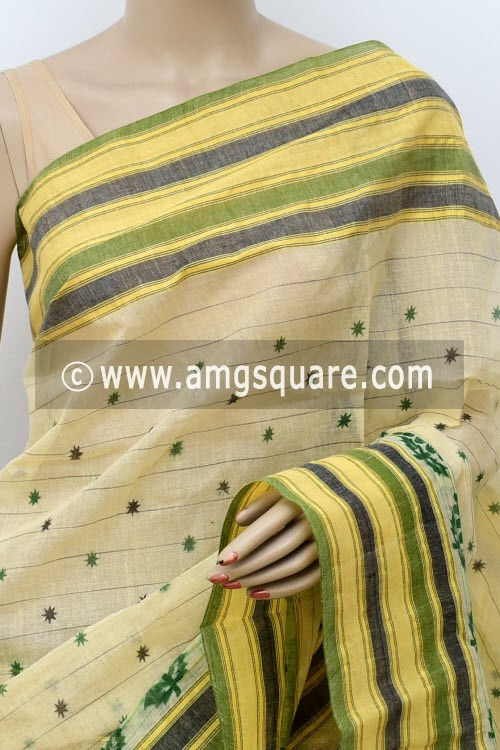 Beige Printed Handwoven Bengal Tant Cotton Saree (Without Blouse) 17809