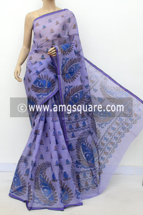 Purple Block Printed Handwoven Bengal Tant Cotton Saree (Without Blouse) Small Check 17811