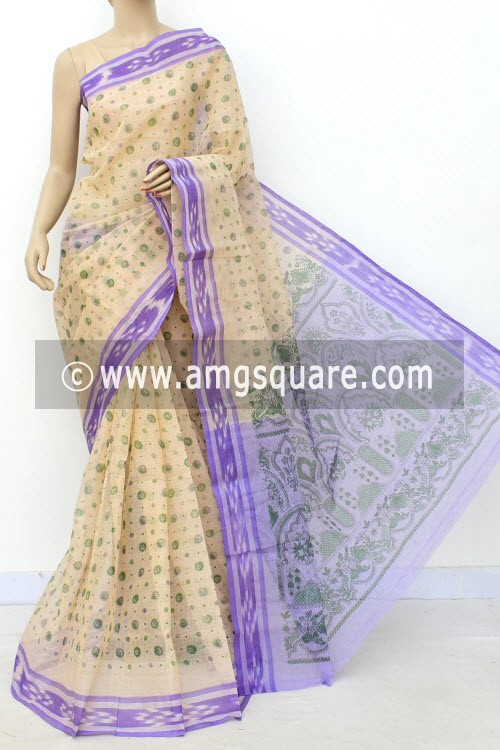 Fawn Purple Block Printed Handwoven Bengal Tant Cotton Saree (Without Blouse) 17813