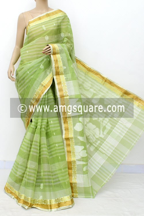 Pista Green Handwoven Bengal Tant Cotton Saree (Without Blouse) Zari Border 17823