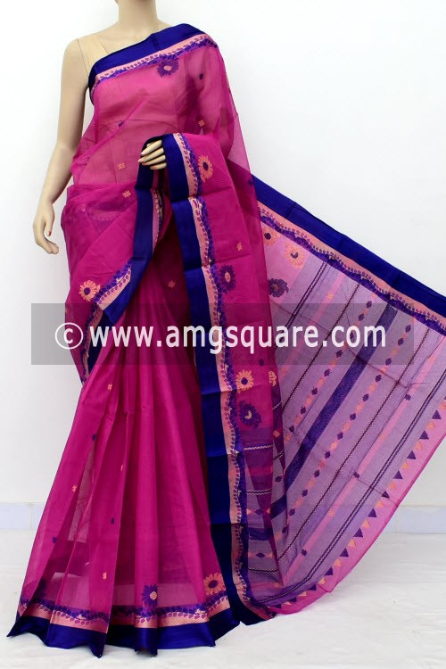 Purple Exclusive Handwoven Bengal Tant Cotton Saree (With Blouse) Resham Border 17825