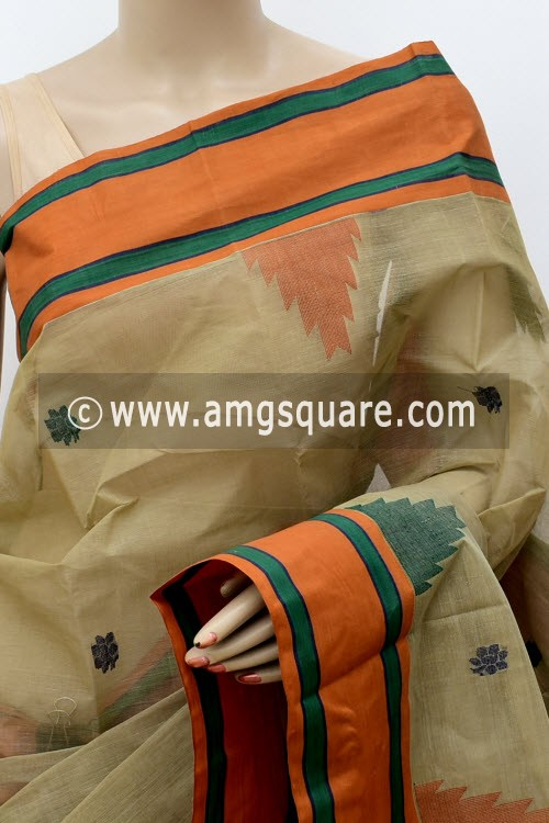 Greyish Fawn Designer Handwoven Bengal Tant Cotton Saree (Without Blouse) 17829
