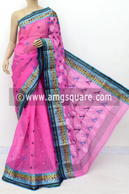 Pink Designer Handwoven Bengal Tant Cotton Saree (Without Blouse) Zari Border 17832