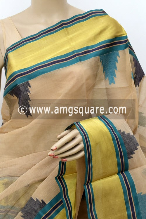 Fawn Designer Handwoven Bengal Tant Cotton Saree (With Blouse) Temple Zari Border 17833