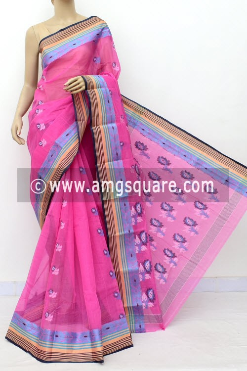 Pink Designer Handwoven Bengal Tant Cotton Saree (Without Blouse) Resham Border 17835