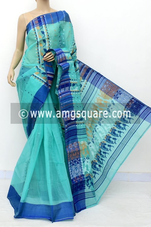Sea Green Jamdani Handwoven Bengal Tant Cotton Saree (Without Blouse) 17836