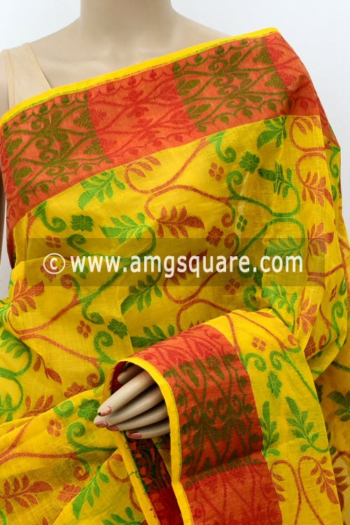 Yellow Jamdani Handwoven Bengal Tant Cotton Saree (Without Blouse) 17837