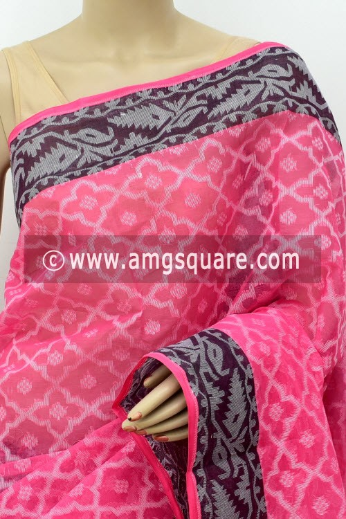 Pink Jamdani Handwoven Bengal Tant Cotton Saree (Without Blouse) 17838