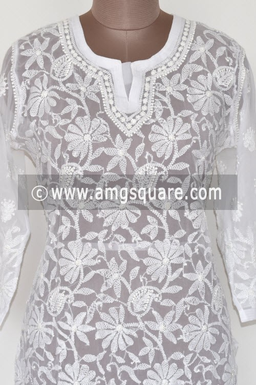 White Hand Embroidered Lucknowi Chikankari Long Kurti (Georgette) Bust-40 inch 17898
