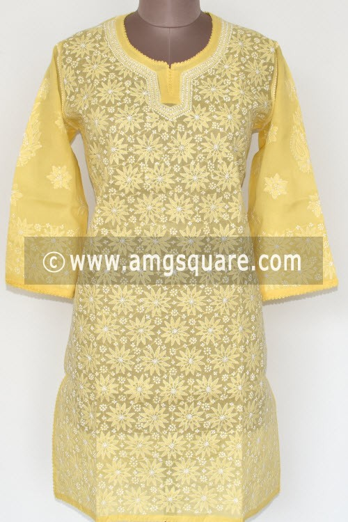 Light Yellow Hand Embroidered Lucknowi Chikankari Short Kurti (Cotton) Bust-44 inch 17906