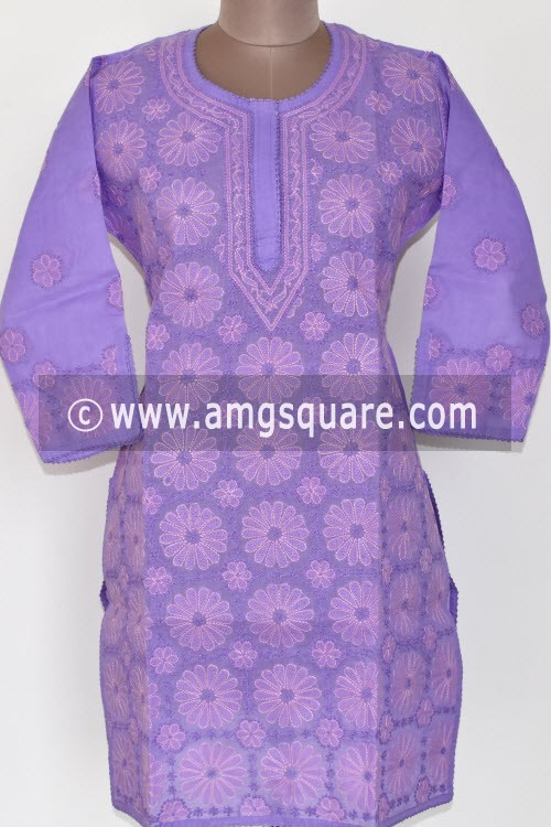Purple Hand Embroidered Lucknowi Chikankari Short Kurti (Cotton) Bust-42 inch 17911