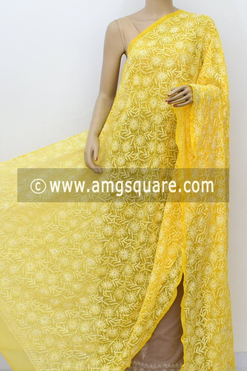 Turmeric Yellow Hand Embroidered Allover Tepchi Work Lucknowi Chikankari Dupatta (Georgette) 17990
