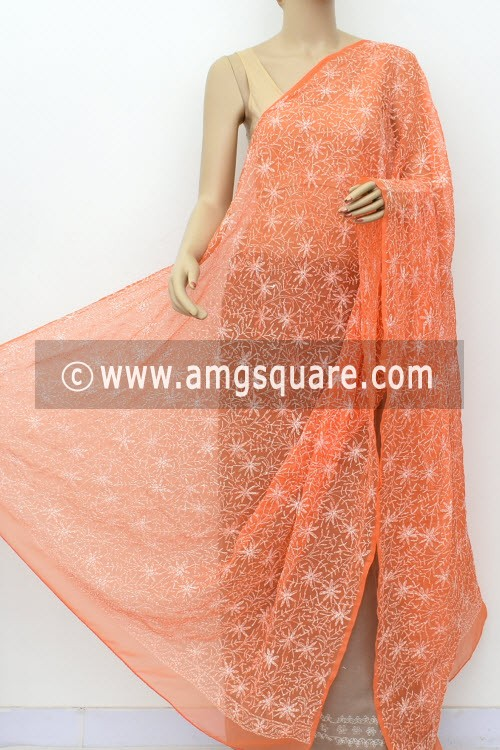 Light Orange Hand Embroidered Allover Tepchi Work Lucknowi Chikankari Dupatta (Faux Georgette) 17998