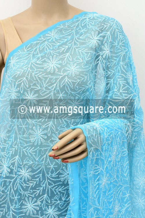 Pherozi Blue Hand Embroidered Allover Tepchi Work Lucknowi Chikankari Dupatta (Faux Georgette) 17999
