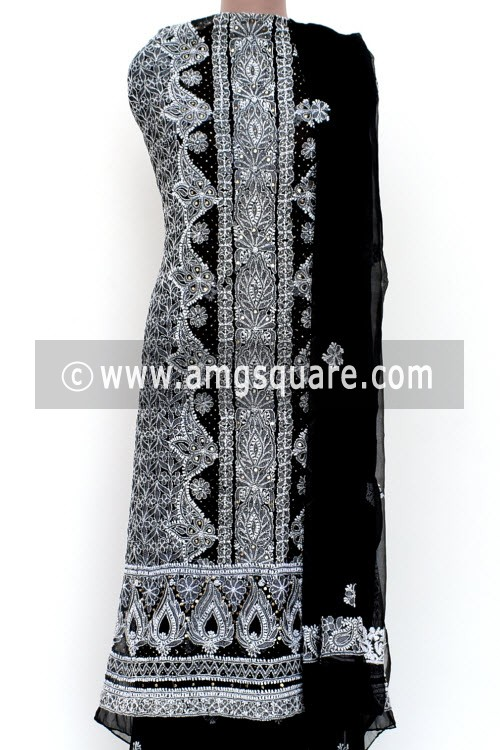 Black Un-Stitched Hand-Embroidered Lucknowi Chikankari Salwar Kameez (Georgette) Mukaish Work 18002