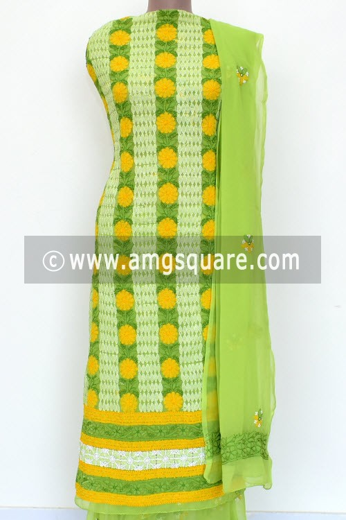 Menhdi Green Un-Stitched Allover Hand-Embroidered Lucknowi Chikankari Salwar Kameez (Georgette) 18015