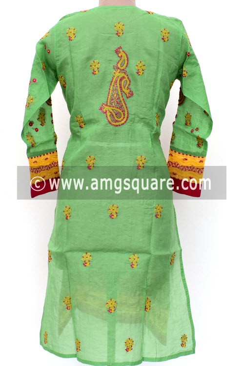 Green Hand Embroidered Lucknowi Chikankari Long Kurti (Cotton) Bust-42 inch 18017