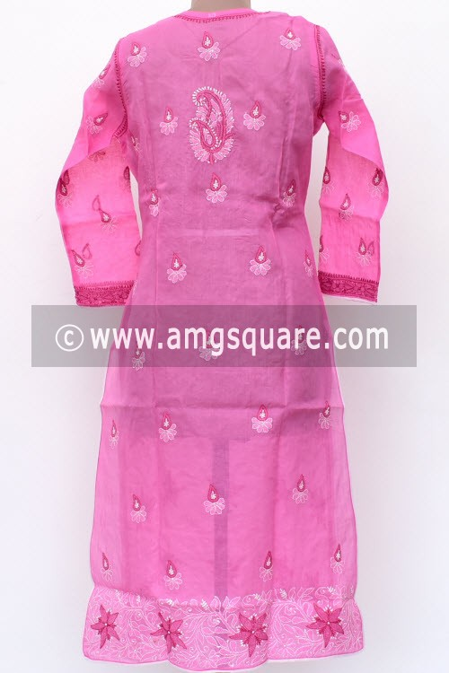 Onion Hand Embroidered Lucknowi Chikankari Long Kurti (Cotton) Bust-42 inch 18019