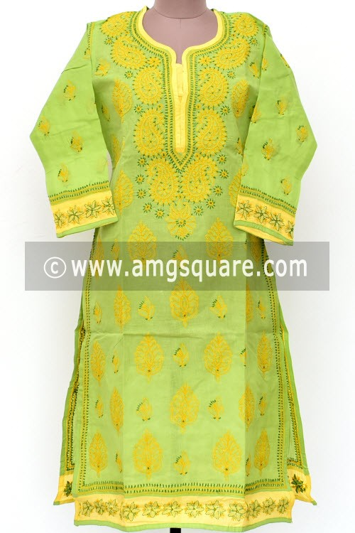 Pista Green Hand Embroidered Lucknowi Chikankari Long Kurti (Cotton) Bust-42 inch 18021