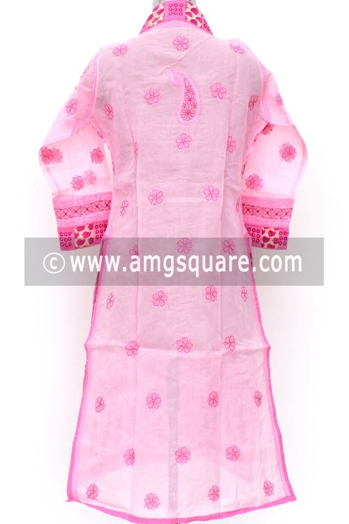 Pink Hand Embroidered Lucknowi Chikankari Long Kurti (Cotton) Bust-44 inch 18022