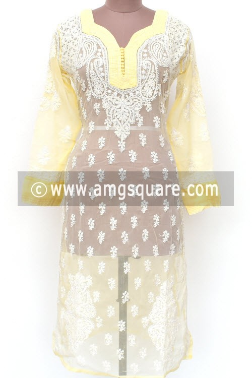 Cream Hand Embroidered Lucknowi Chikankari Long Kurti (Georgette) Bust-40 inch 18026