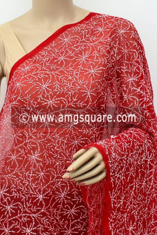 Red Hand Embroidered Allover Tepchi Work Lucknowi Chikankari Dupatta (Faux Georgette) 18031