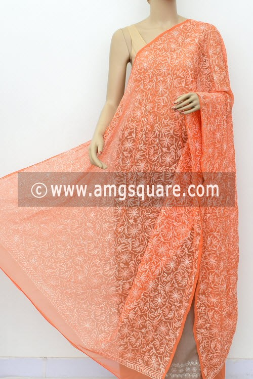 Light Orange Hand Embroidered Allover Tepchi Work Lucknowi Chikankari Dupatta (Faux Georgette) 18032