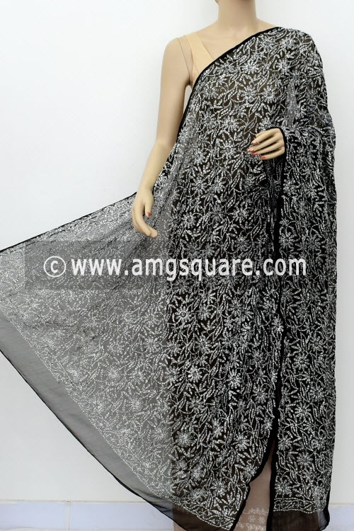 Black Hand Embroidered Allover Tepchi Work Lucknowi Chikankari Dupatta (Faux Georgette) 18033