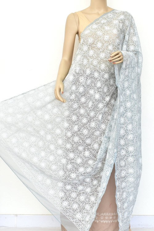 Grey Hand Embroidered Allover Tepchi Work Lucknowi Chikankari Dupatta (Faux Georgette) 18034