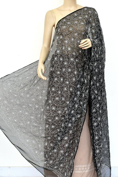 Black Hand Embroidered Allover Tepchi Work Lucknowi Chikankari Dupatta (Faux Georgette) 18035