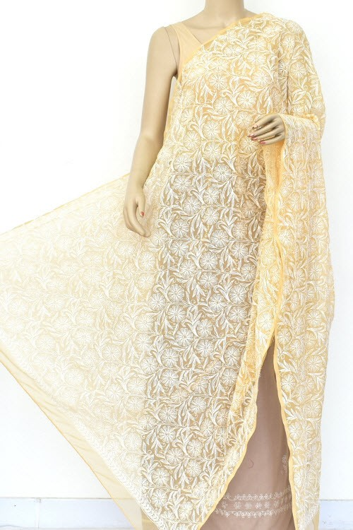 Beige Hand Embroidered Allover Tepchi Work Lucknowi Chikankari Dupatta (Faux Georgette) 18037