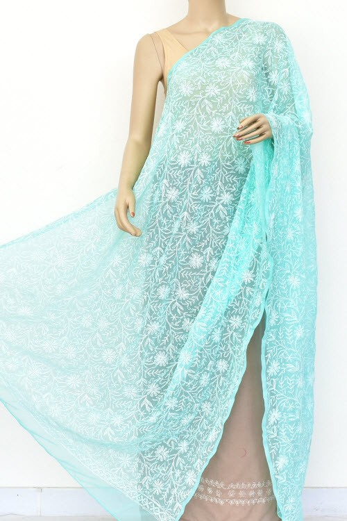 Sea Green Hand Embroidered Allover Tepchi Work Lucknowi Chikankari Dupatta (Faux Georgette) 18038