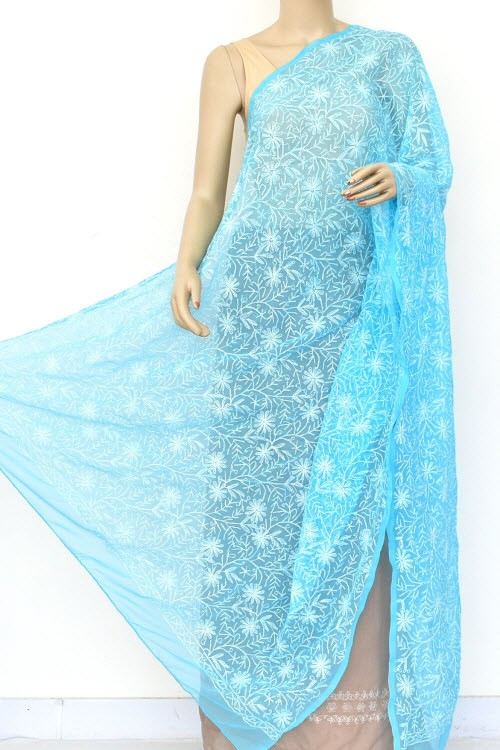 Pherozi Blue Hand Embroidered Allover Tepchi Work Lucknowi Chikankari Dupatta (Faux Georgette) 18043