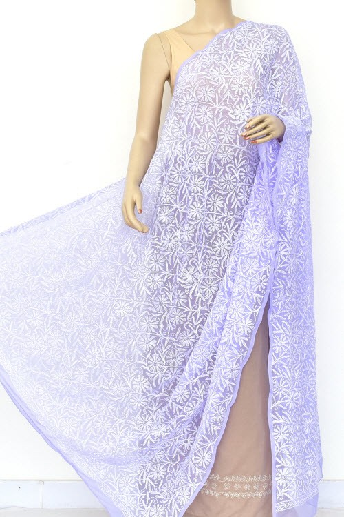 Lavender Hand Embroidered Allover Tepchi Work Lucknowi Chikankari Dupatta (Faux Georgette) 18045