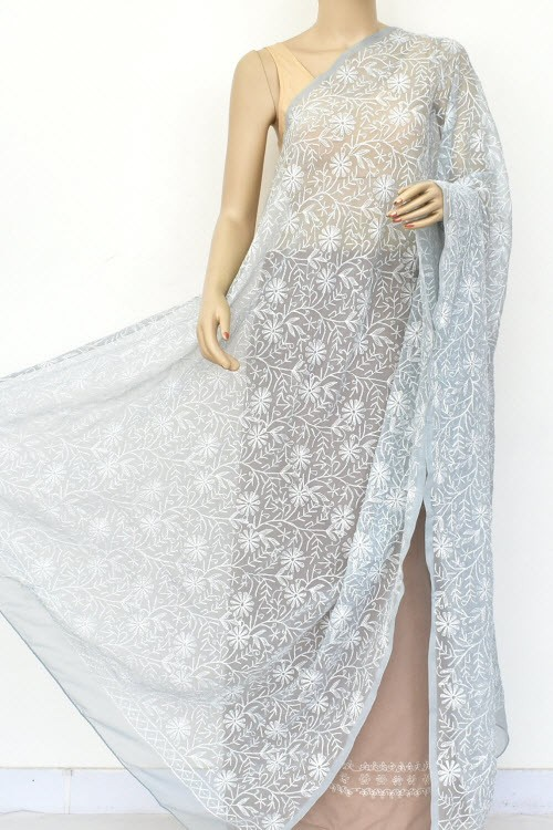 Grey Hand Embroidered Allover Tepchi Work Lucknowi Chikankari Dupatta (Faux Georgette) 18047